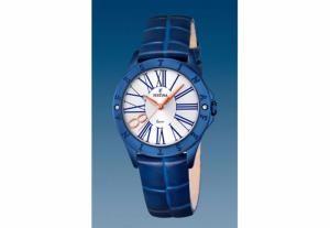 Montre Femme Festina F16931/1 Bracelet en Cuir Bleu et Boitier en Acier Bleu. Aiguilles Or Rose