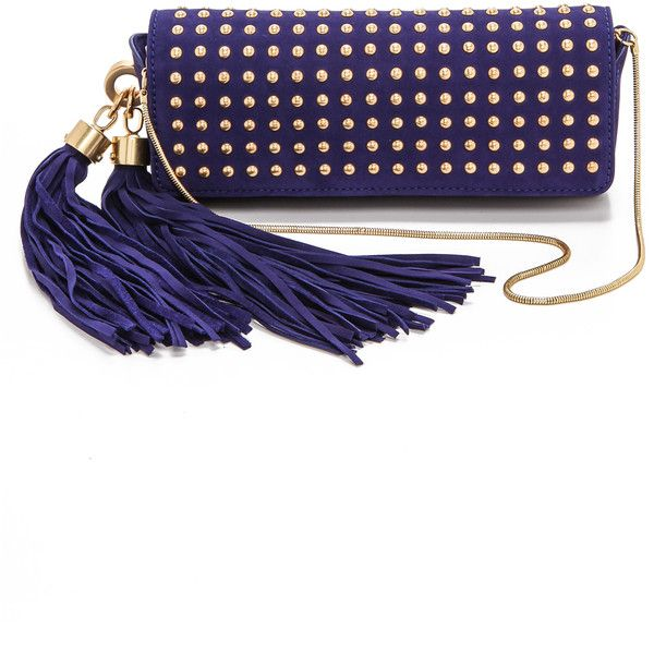 Zac Zac Posen Claudette Studded Tassel Clutch - Azure (€195) ❤ liked on Polyvore featuring bags, handbags, clutches, bolsas, clutches / wallets / purses, man bag, handbag purse, leather purses, studded clutches and blue clutches