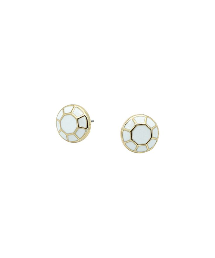 Look what I found on #zulily! See Blair White & Gold Geometric Stud Earrings by See Blair #zulilyfinds