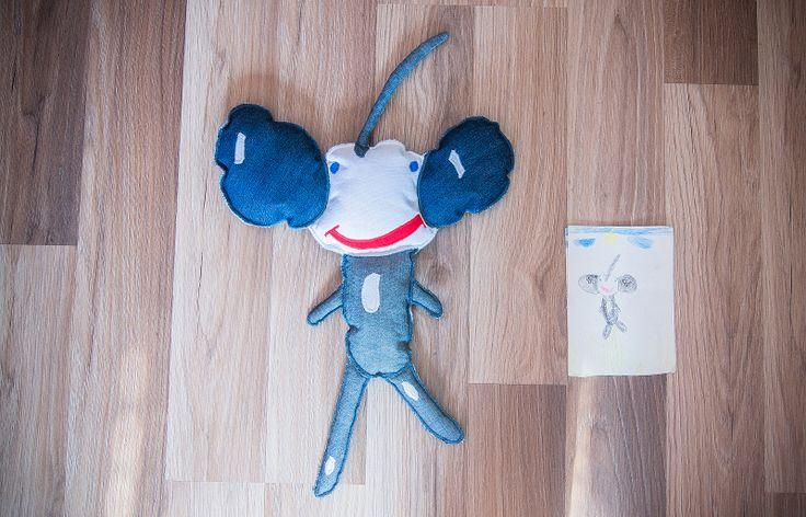 Realizacja dziecięcego pomysłu. #wyobraznia #dziecko #maskotka #rysunek #tkanitka