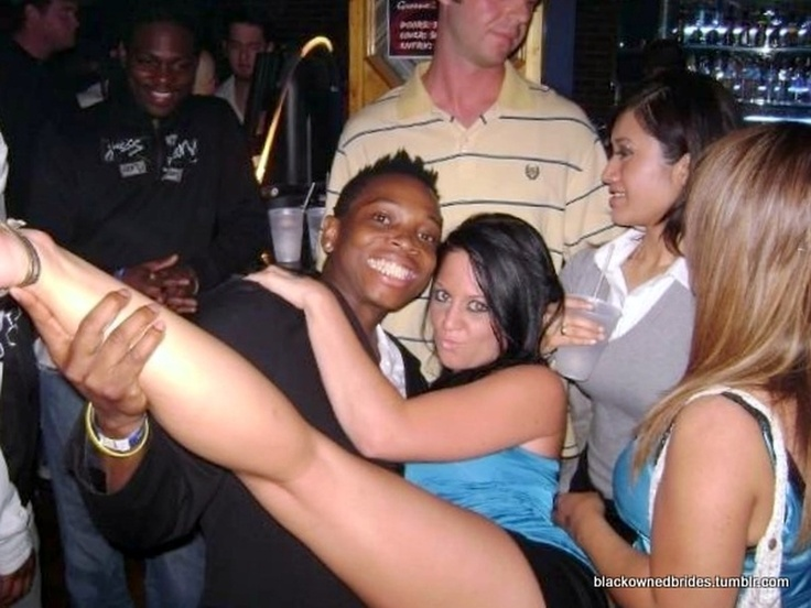 White Women With Black Men Flirting, Drinking And Dancing -6893