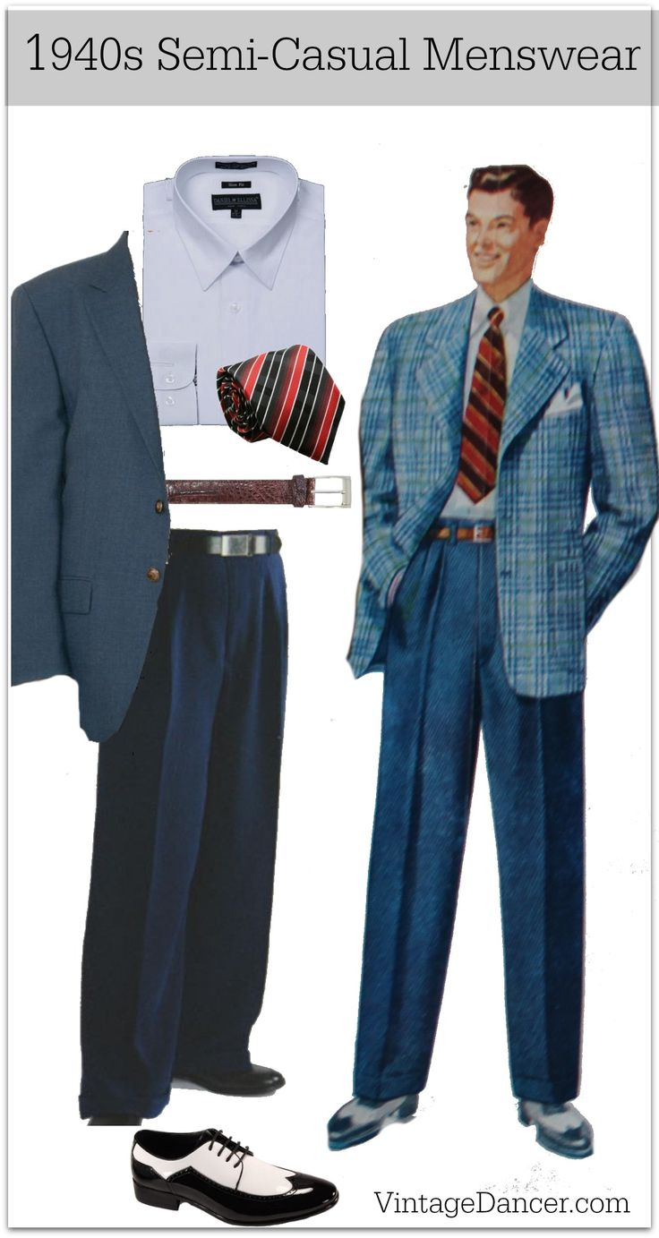 1940s semi casual sport coat blazer mens fashion clothing costume ideas at VintageDancer.com