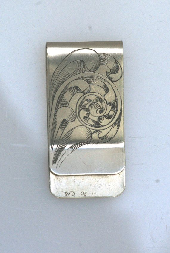 Hand Engraved Money Clip Full Coverage Stainless by PlowedByAnts, $100.00