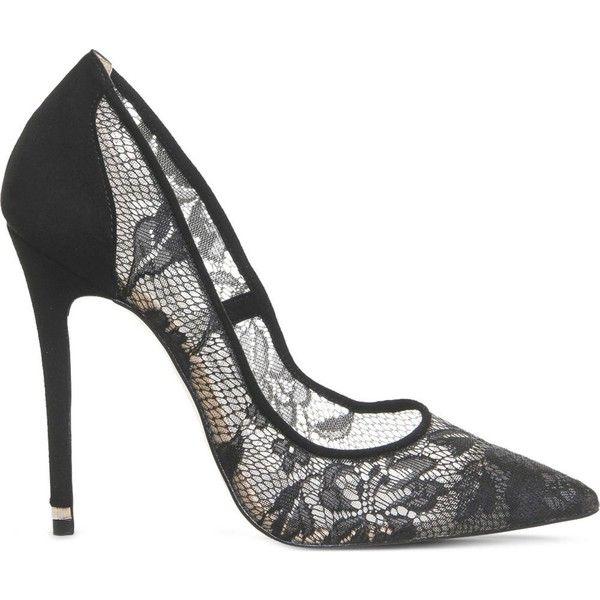 OFFICE Betty lace-embellished court shoes found on Polyvore featuring shoes, pumps, heels, black floral lace, high heels stilettos, pointed-toe pumps, black slip-on shoes, black lace pumps and black lace shoes