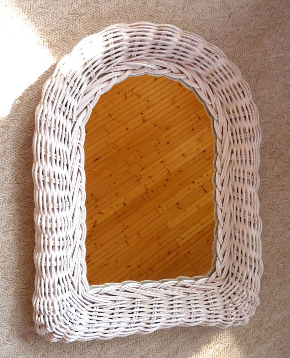 White Wicker Accent Mirror by BonniesVintageAttic on Etsy, $25.00