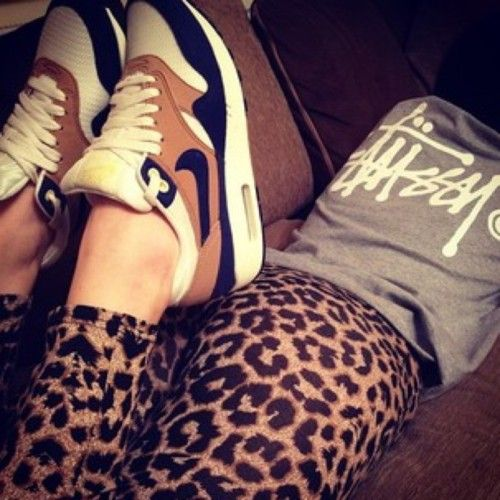 ★ ★ ★ three stars (grey and white stussy tee, cheetah leggings, brown, white and black sneakers)