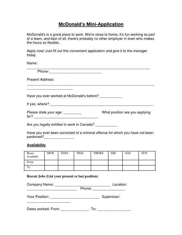 Mcdonalds Application Form Mcdonalds Job Application Form Sample Forms Job Application Form Job Application Job Application Template