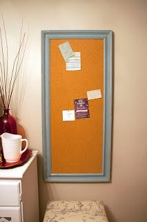 Love that color.  Would match our guest room.  DIY Framed Cork Board