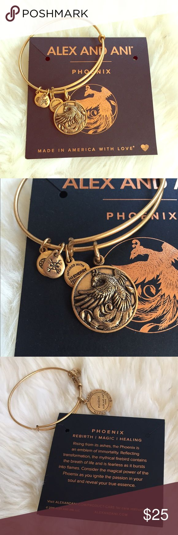 Alex and Ani Phoenix bracelet BRAND NEW Authentic Alex and Ani Phoenix bracelet. Brand new, never tried on. Authentic. Comes with card. I have 2 of these, only one has retail tag-both brand new Alex & Ani Jewelry Bracelets