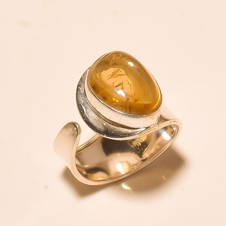 92.5% SOLID STERLING SILVER BEAUTIFUL CITRINE CAB'S RING (Adjustable)  #Handmade