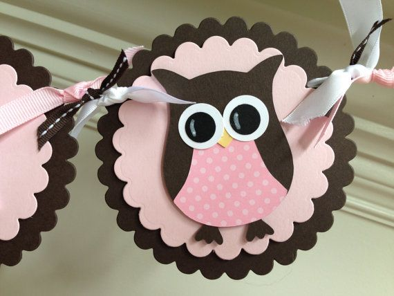 What about putting an Oreo cookie in between and serve on a platter. Owl BABY SHOWER Banner Pink & Brown