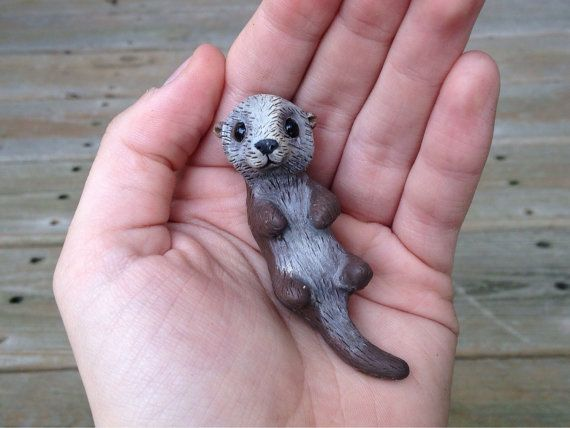 Nutria de mar: Figura animal miniatura hecha a por AnimalitoClay