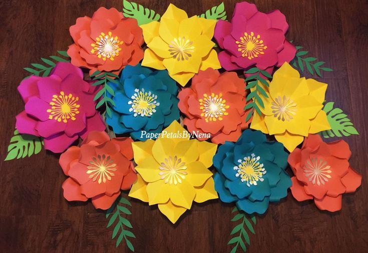 Moana paper flowers / moana backdrop / moana party decor / hawaiian birthday party by PaperPetalsByNena on Etsy