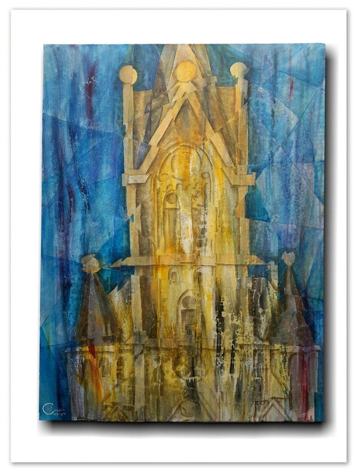 lutherkirche-bad-kösen, church - acrylic paint on canvas 60x80cm