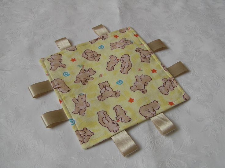 taggie blanket, baby comforter, baby taggie, brushed cotton, teddy design, cream, yellow, by Eversewdainty on Etsy
