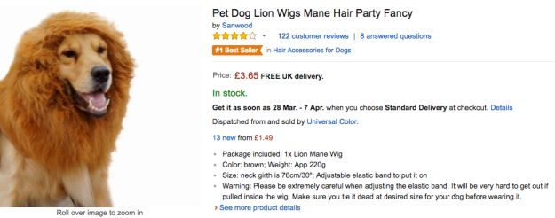 So Amazon sells lion's manes for dogs, which is completely brilliant news.
