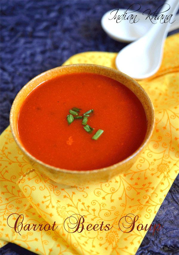 Vegan and quick carrot, beets soup with hint of lemon.