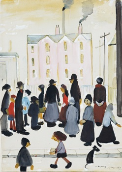 Group of People  Watercolour on Paper - LS Lowry