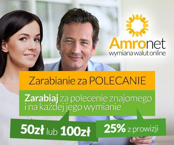 Amronet.pl. Przypominamy i zachęcamy do korzystania z Programu Partnerskiego pod linkiem https://www.konto.amronet.pl/zarabianie-za-polecanie Ile możesz zarobić polecając znajomego? Polecając znajomego możesz otrzymać 50zł lub 100zł oraz 25% z prowizji od każdej jego wymiany. Zapraszamy do uroczego kontaktu oraz do wymiany walut. W Amronet.pl stawiamy na szybkość, jakość oraz profesjonalizm.