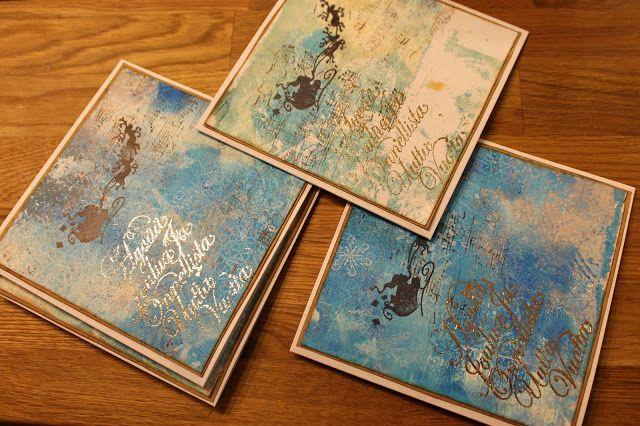 Aromaattista arkea askarrellen : Joulukortteja gelliprintistä