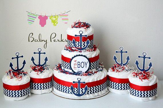 Pastel de pañal náutica bebé ducha velero de tema náutico