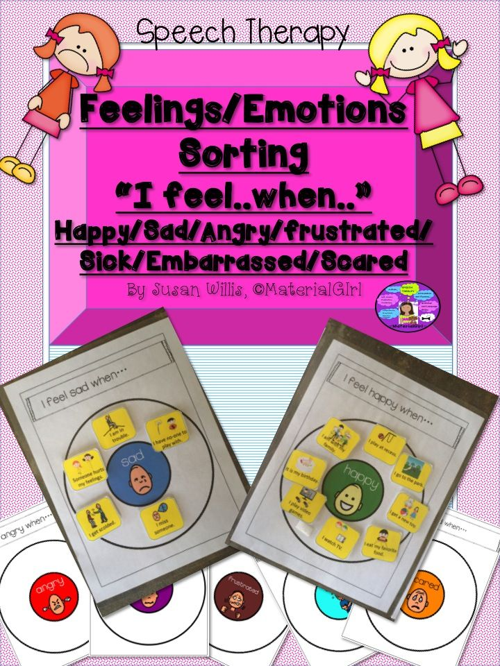 """Speech Therapy """"Feelings/Emotions Sorting"""" activity to practice the meaning of different feelings and the situations that trigger those feelings. Feelings are happy, sad, angry/frustrated , sick, embarrassed, and scared.  Use with students with special needs, mostly those with autism.  Includes: 7 Circle Maps with a different feeling on each.  6 pages with different situations. The student is to sort those situations onto the circle maps.. #autism #feelings #specialed  #speech #speechtherapy"""