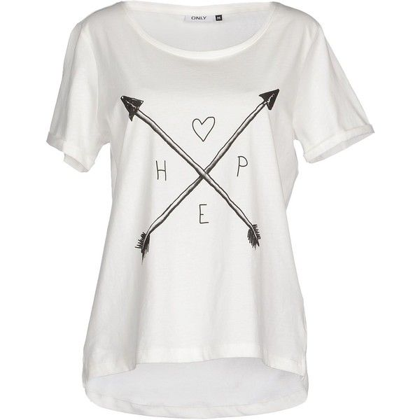 Only T-shirt ($28) ❤ liked on Polyvore featuring tops, t-shirts, shirts, white, short sleeve tops, short sleeve tees, short sleeve t shirts, white tee and white tops
