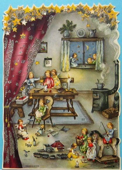 Haco 0176, vintage German Advent calendar, by Lore Hummel. ca.1954