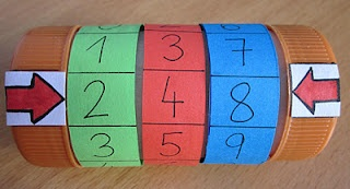 Number machine made out of toilet paper tube, bottle caps, construction paper, glue and scissors. Can be used for recognizing numbers, making words (can, tan, pan). La màquina de numeración.