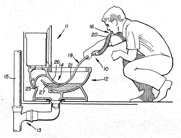 Cross-section drawing of a toilet snorkel being used by a man.  Breathing the fumes from the sewer pipe.