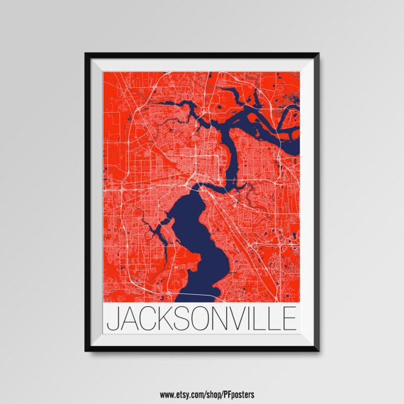 Jacksonville Map Print - Minimalist City Map Art of Jacksonville Poster - Wall Art Gift - COLORS - white, blue, red, yellow, violet Jacksonville map, Jacksonville print, Jacksonville poster, Jacksonville map art, Jacksonville gift  More styles - Jacksonville - maps on the link below https://www.etsy.com/shop/PFposters?search_query=Jacksonville