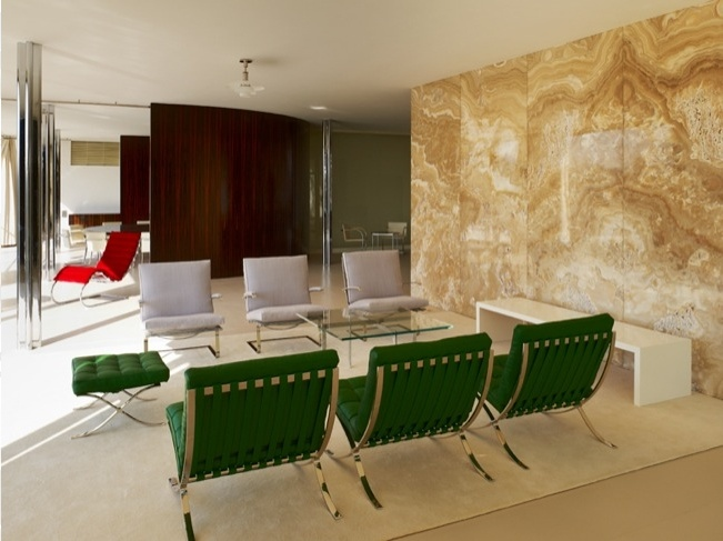 Barcelona Chairs And Ottoman In Green Leather, Tugendhat Villa In February  2012, Photo By