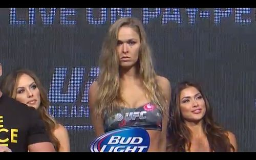 "135 lbs. for the champion ""Rowdy"" Ronda Rousey! UFC 175 weigh-ins."
