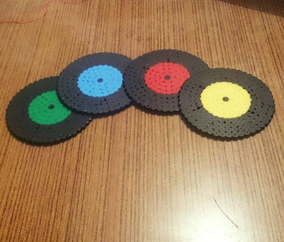 Retro coasters made from Hama beads colourful by passionfyre, £8.00