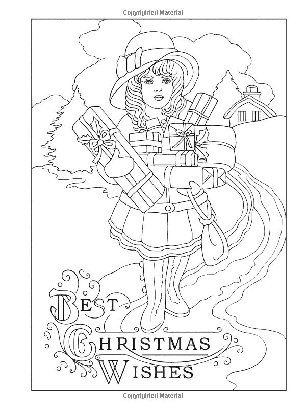 Creative Haven Vintage Christmas Greetings Coloring Book Books Marty Noble