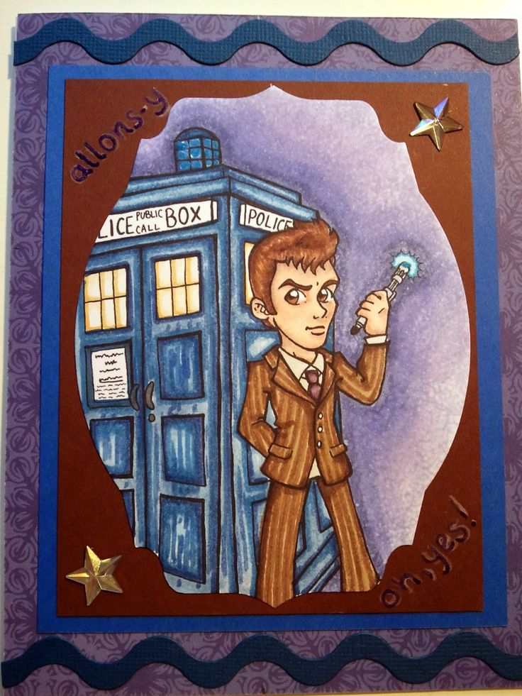 A less successful card of the tenth doctor.  I had a colouring mishap and had to creatively crop the image. Stamp by Mayzy Art.