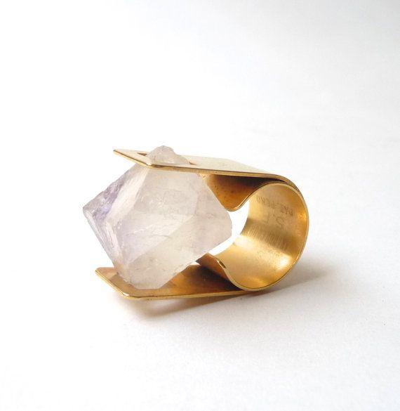 Modernist Arthur Court Brass and Raw Quartz Ring by mascarajones