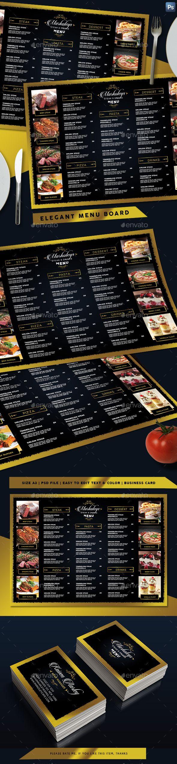 Elegant Restaurant Menu Board + Business Card - Templates PSD