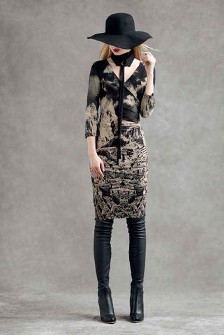 ISABEL DE PEDRO BEIGE AND BLACK PRINT DRESS – Jessimara