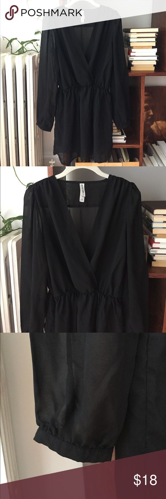 Adorable black mini dress with cinched waist The skirt part is lined, making the top layer flow really nicely - only worn a couple of times - Bethany Mota brand Aeropostale Dresses Mini