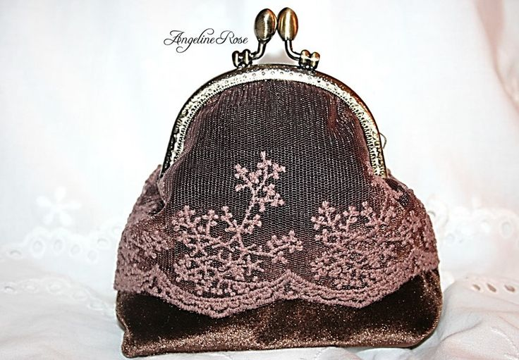 brown velvet lace clutch. brown velvet lace purse, gold satin inside, unique makeup bag,angeline rose purse, coin purse, kiss lock purse by AngelineRosePurse on Etsy