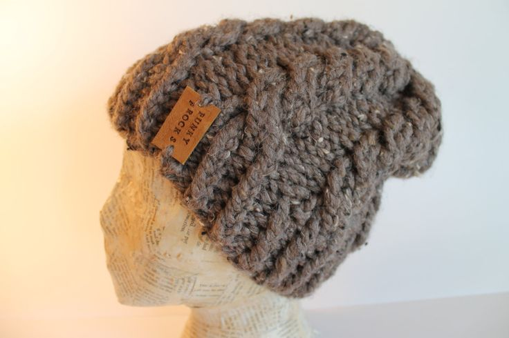Super Chunky Brown Cable Knit Slouchy Beanie Hat by FunkieFrocks on Etsy