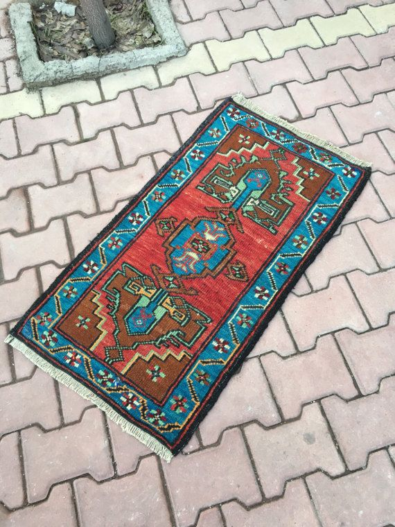 Prachtige blauw Vintage Turkse tapijt, primitieve Azteekse Pattern Badmat Yastik tapijt, Vintage portiek Decor Small tapijt 1