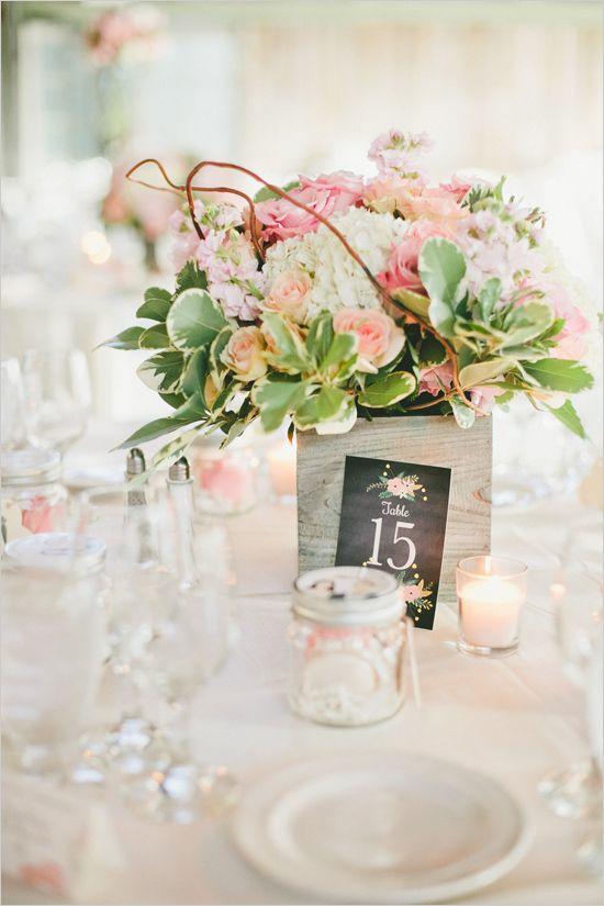 Rustic Wedding Table Idea: Flower box centerpiece and table number @weddingchicks