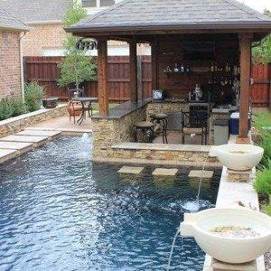Swim Up Bar Design With Stone Bar And Waterfalls , Awesome Swim Up Bar Design In Landscaping And Outdoor Building Category