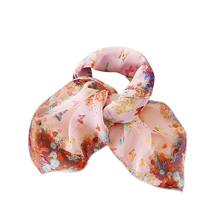GERINLY Chiffon Square Scarf: Butterflies In Florals Print Women Neckerchief -- Special discounts just for this time only  : 99 cent Women's Accessories