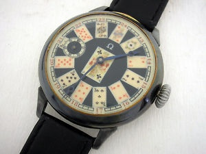 K44 Antique Omega Watch, with playing-cards face: Pocket Watch, Omega Watch