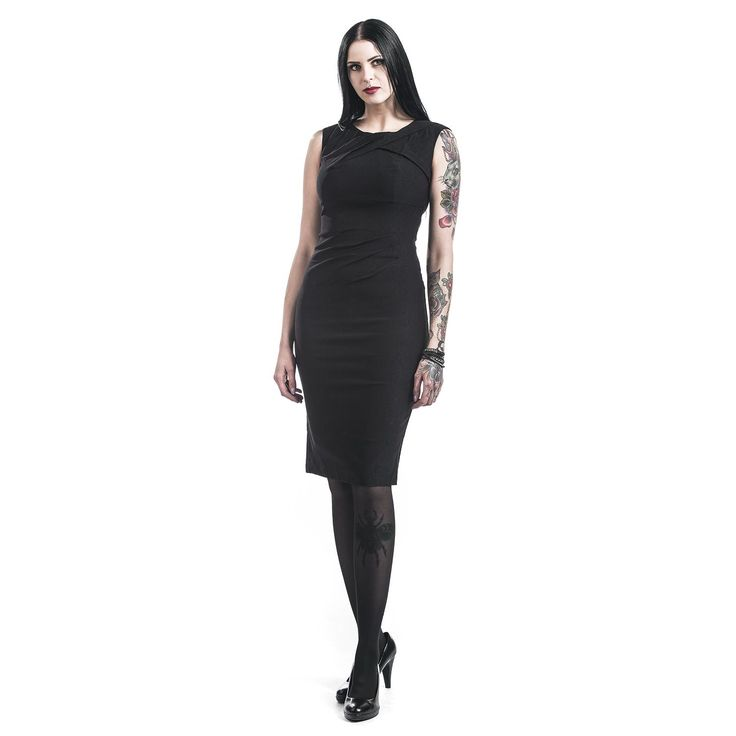 """Abito nero """"Claudette"""" del brand #VoodooVixen con cerniera e spacco sul retro, taglio avvitato, modello smanicato. lu.: 100 cm circa."""