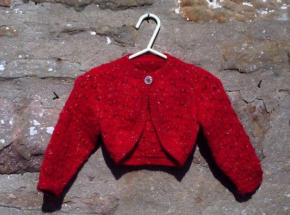 Handknitted girls glitter bolero shrug. 20 by Brawlbinhandknits, £20.00
