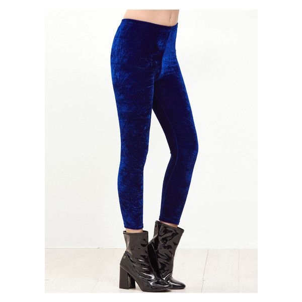 Royal Blue Velvet Skinny Leggings ($14) ❤ liked on Polyvore featuring pants, leggings, skinny trousers, velvet pants, white pants, white leggings and skinny leggings